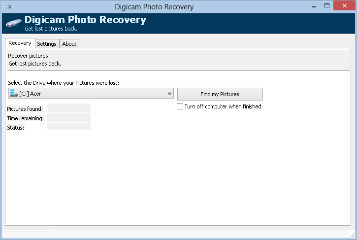 Get your deleted pictures back!Image Recovery