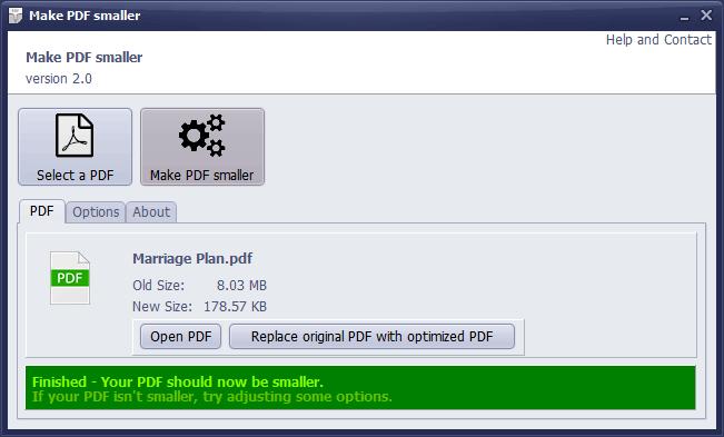 Make PDF smaller
